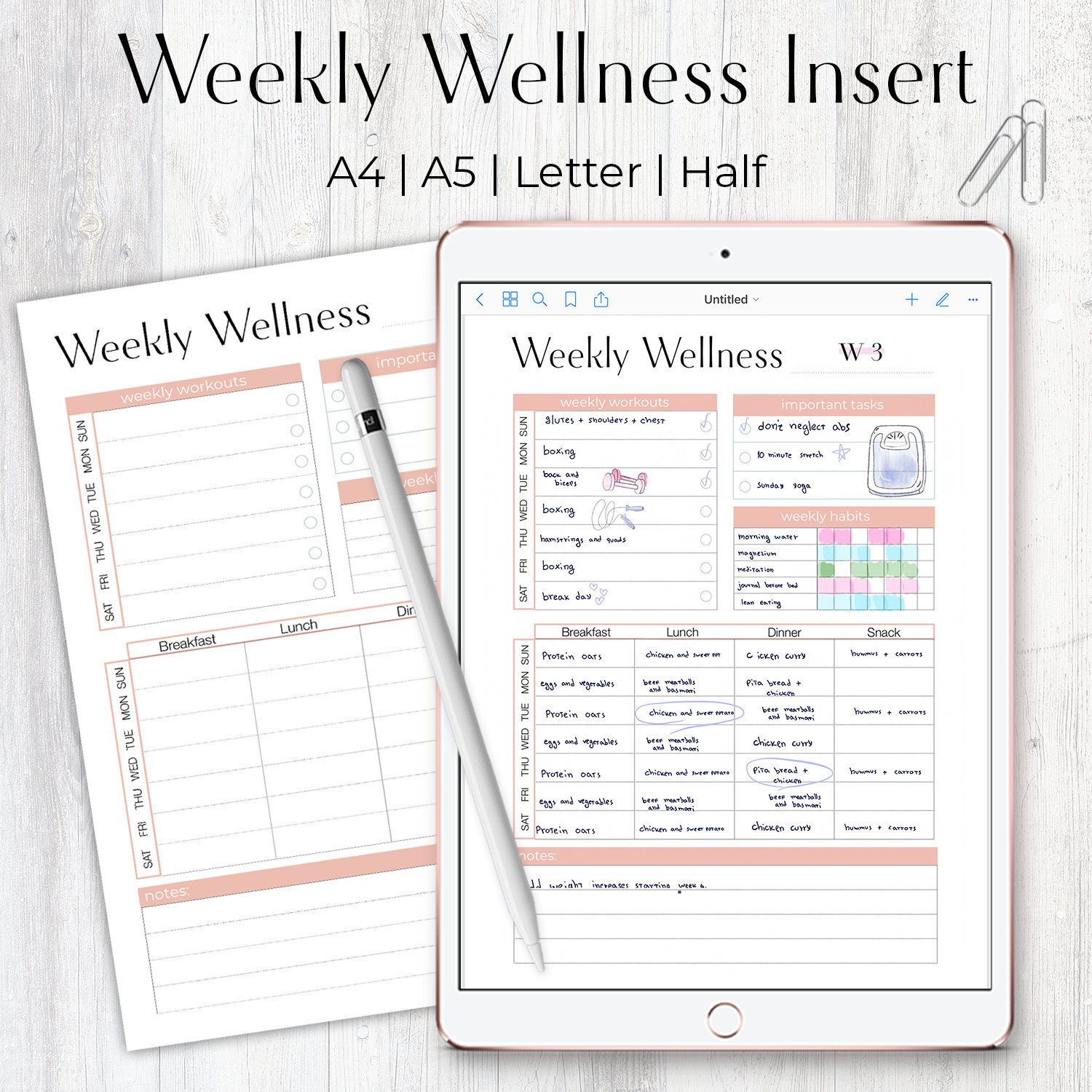 Weekly Fitness Planner, Weekly Wellness and Meal Tracker