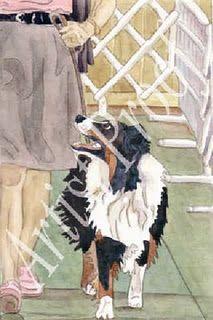 Watercolor - Black Tri Australian Shepherd, Heeling/Obedience