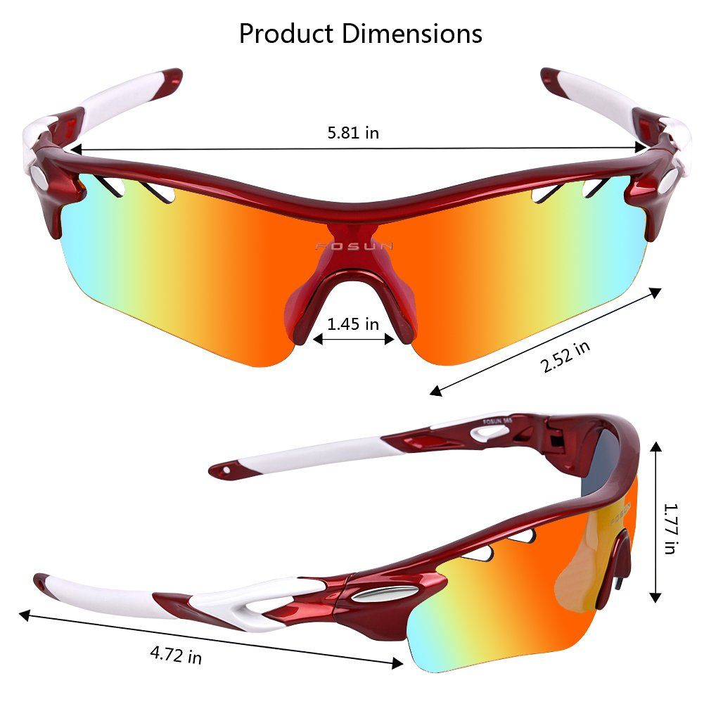 de2fdd274e7 Aoknes Polarized Sports Sunglasses with 5 Interchangeable Lenses for Men  Women Cycling Baseball Running Fishing Driving Golf Glasses Tr90 Unbreakable  Frame ...