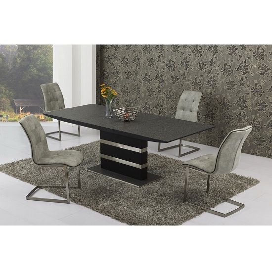 optra extendable small glass dining set with 4 fredo grey chairs rh pinterest com
