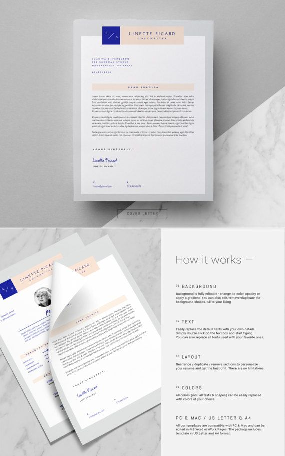 Modern Resume Template Cover Letter MS Word And Pages 3 Page Design Icon Pack Hipster