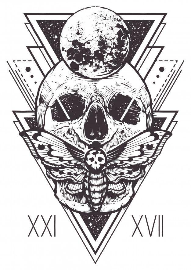 Diseño de geometría sagrada del cráneo Vector Gratis   Para rayarme ...