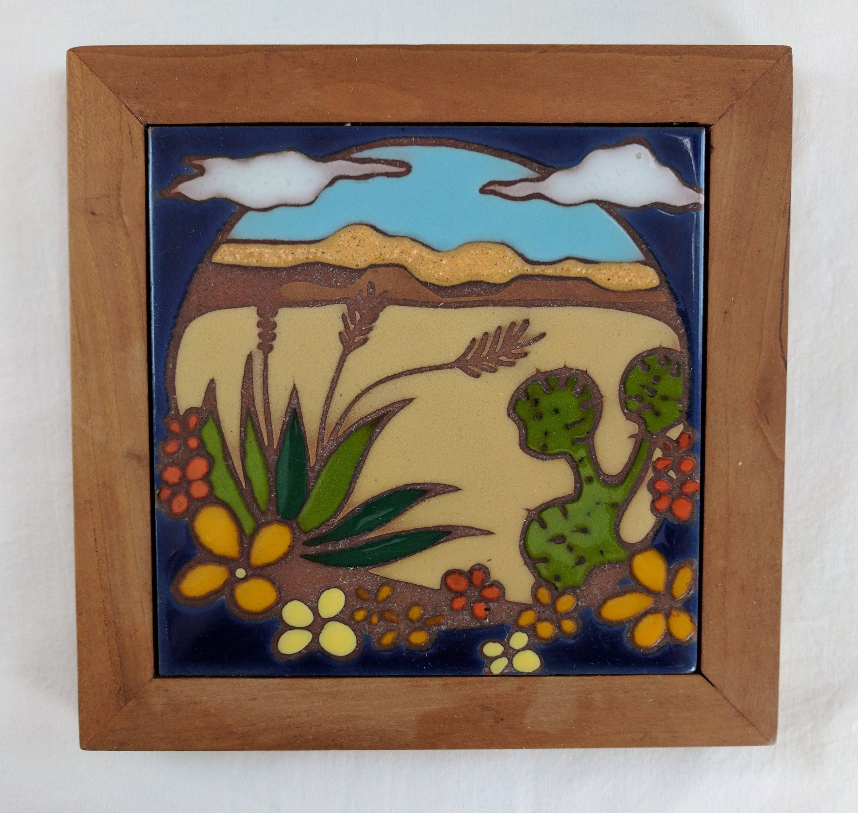 Desert Scene Red Clay Ceramic Tile Wood Border Edilgres S P A Italy By Tlgvintageart On Etsy Clay Ceramics Red Clay Ceramic Tiles