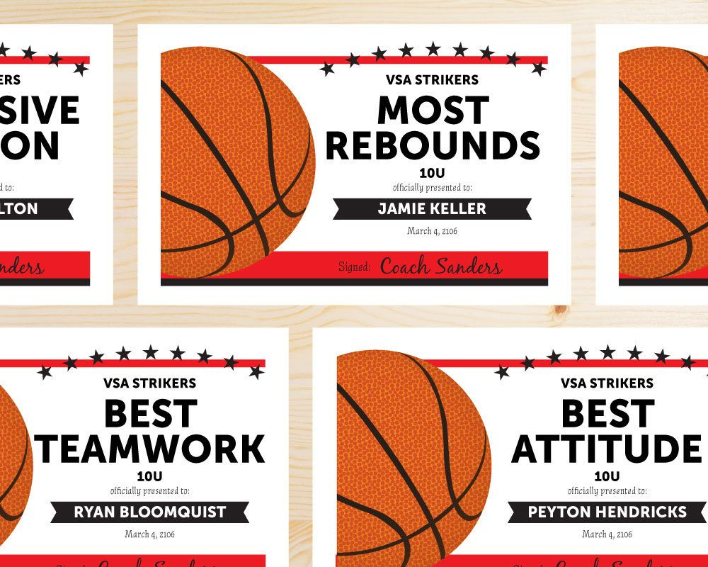 great team colors basketball team award certificates