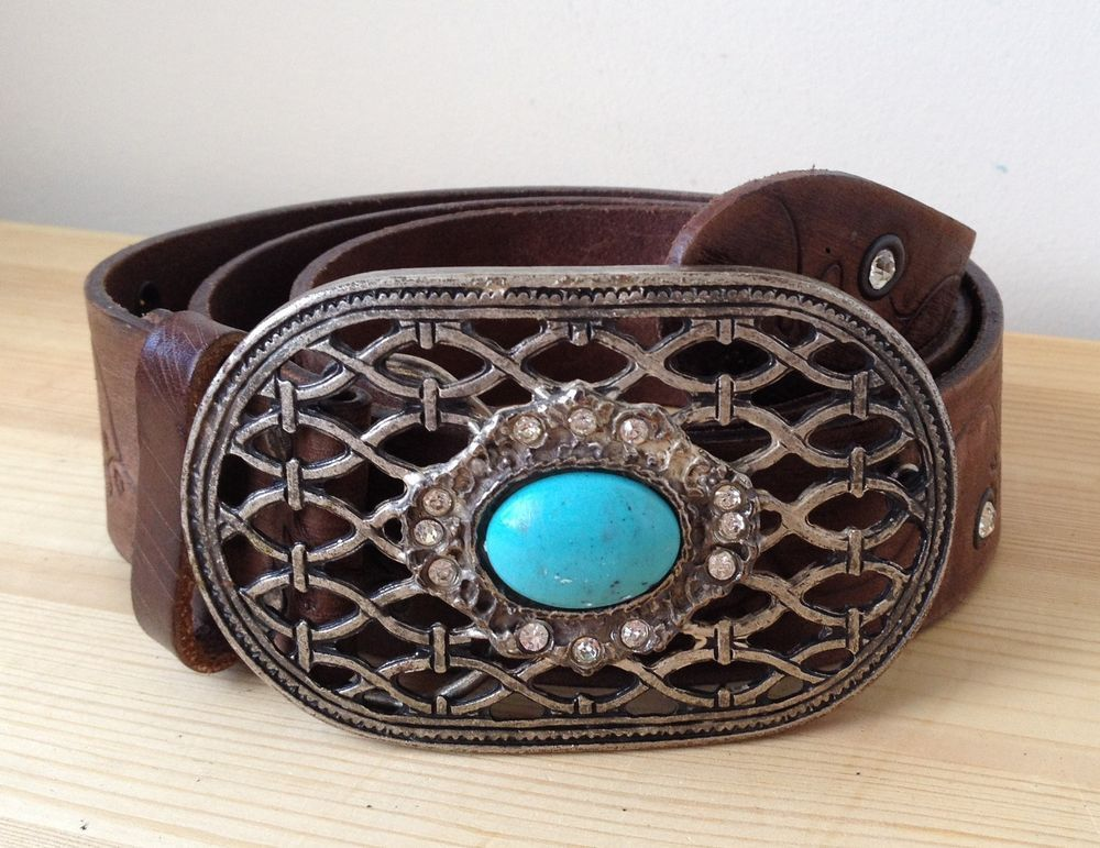 River Island brown leather belt L vintage style turquoise stone buckle boho