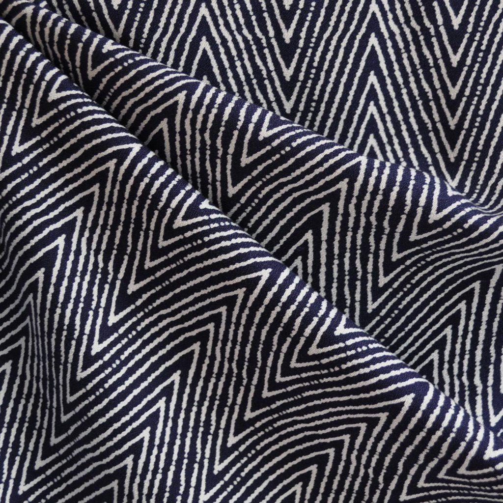 Rayon Crepe Chevron Navy/White - Fabric - Style Maker Fabrics ...