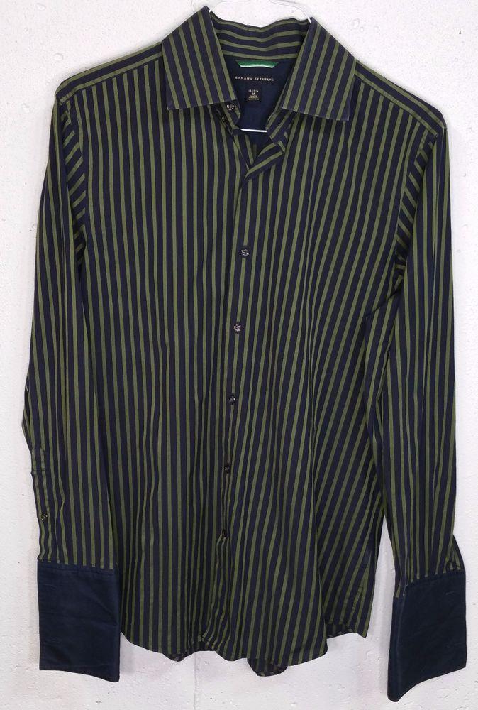 Banana Republic Mens French Cuff 100% Cotton Long Sleeve Button ...