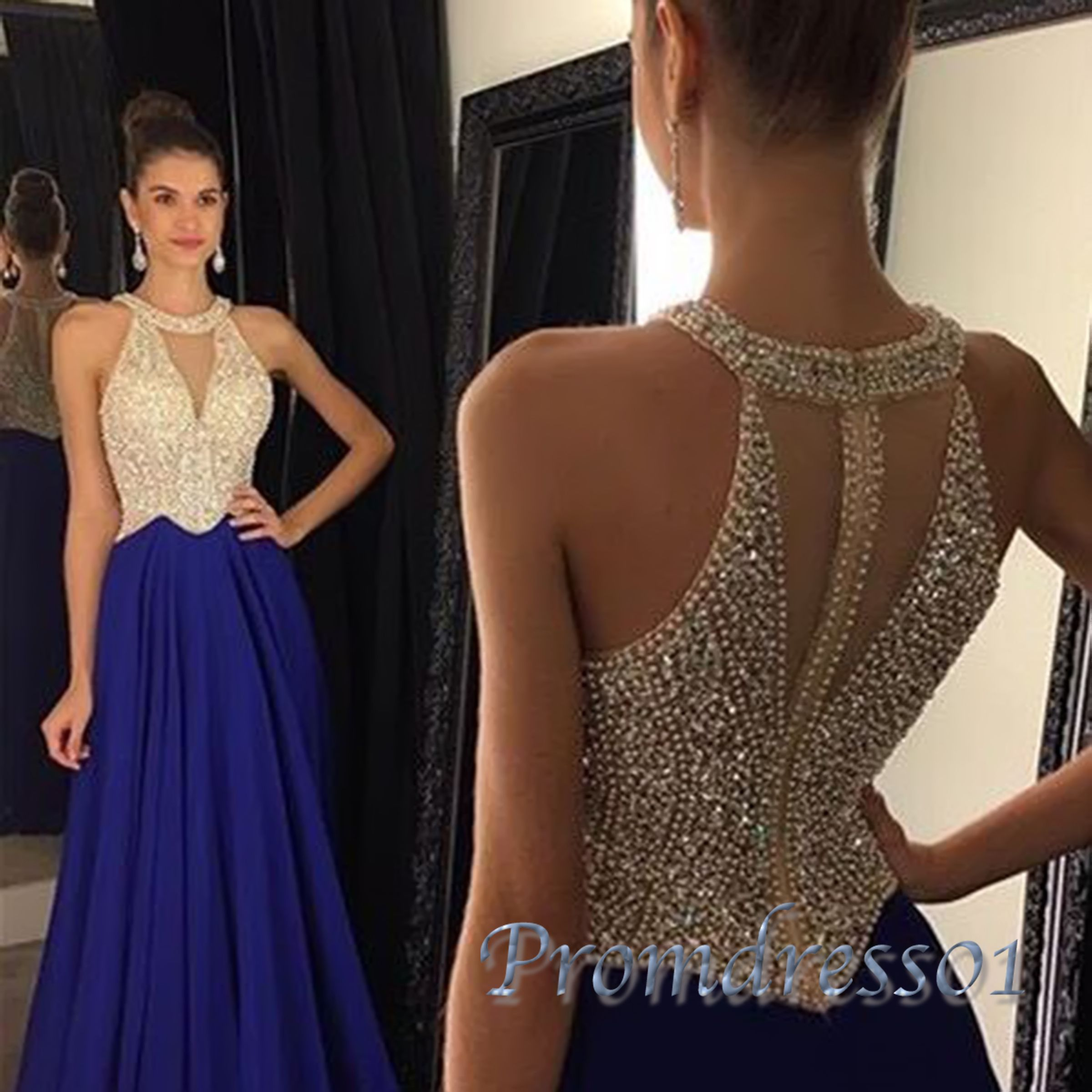 Elegant sequins top navy blue chiffon prom dress for teens, ball ...