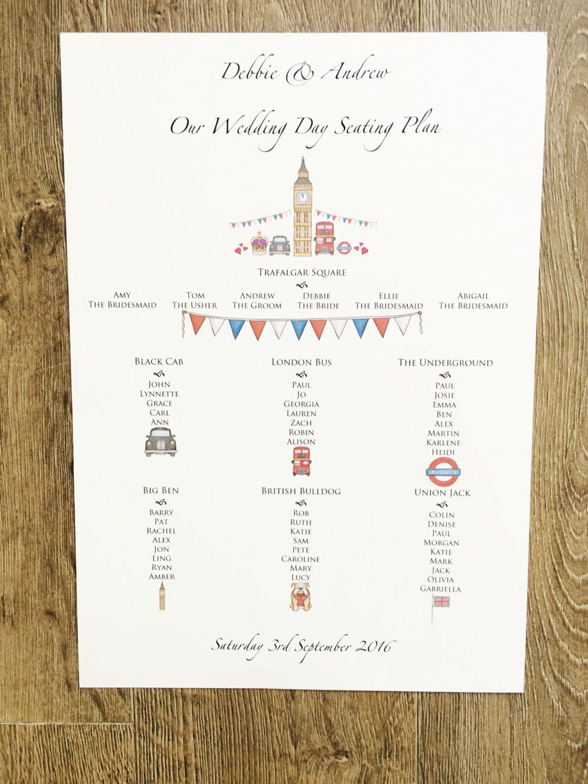 London themed wedding table plan. A3 in size printed with foam core ...