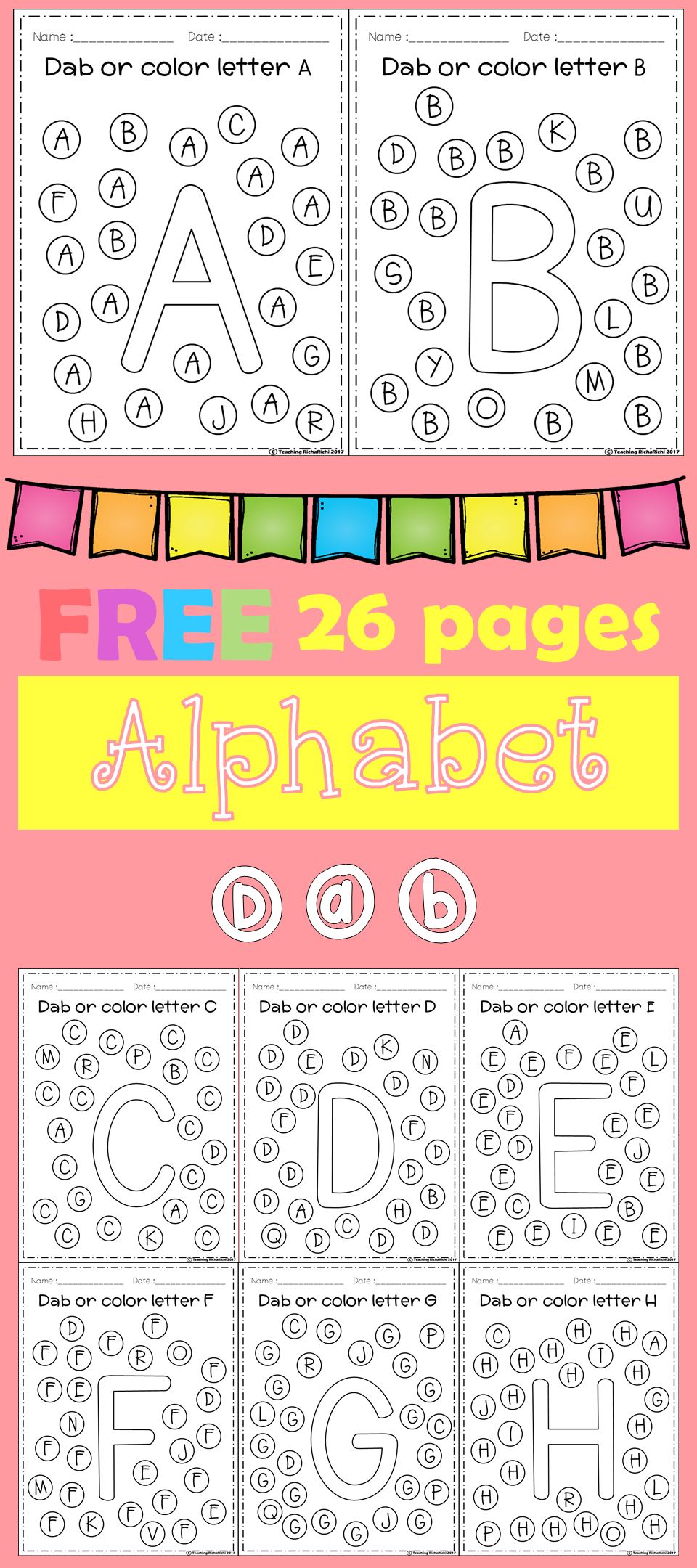 FREE Freebies Alphabet Dap A-Z 26 pages. For PreK and Kindergarten ...
