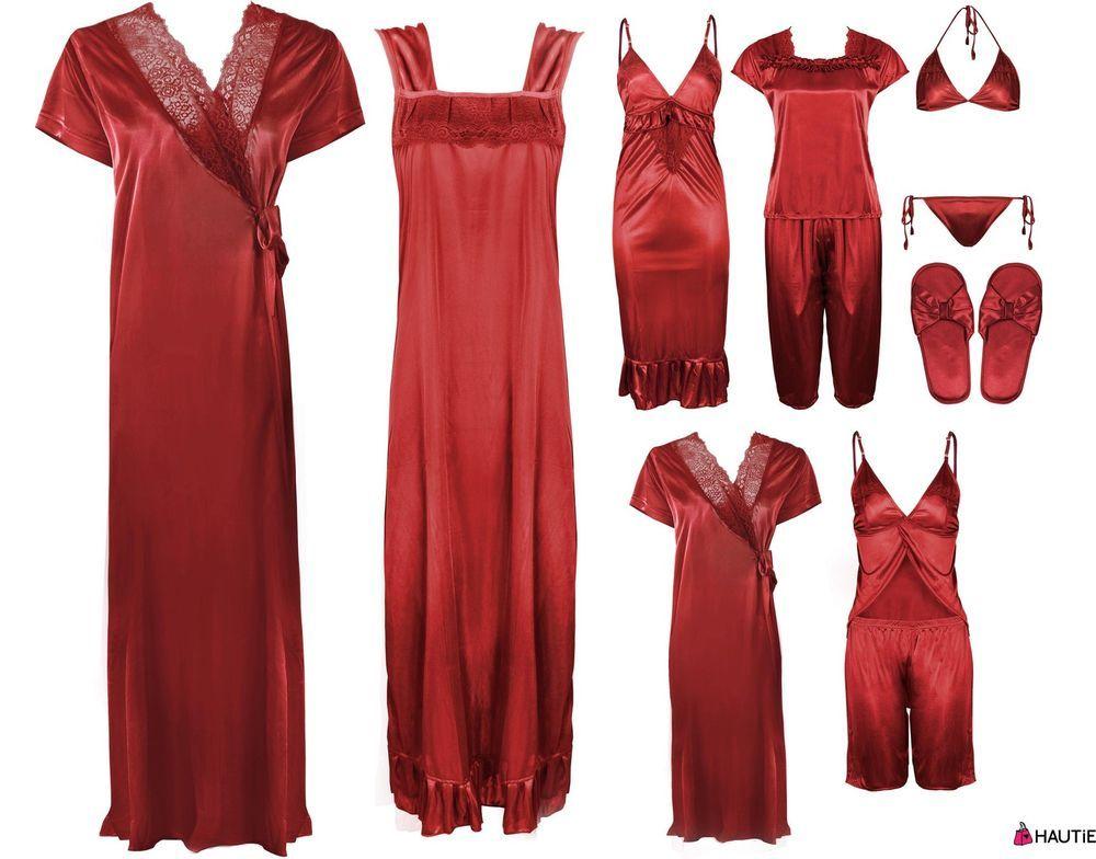 Ladies satin lace long nightdress womens nightie pyjama set robe set ...