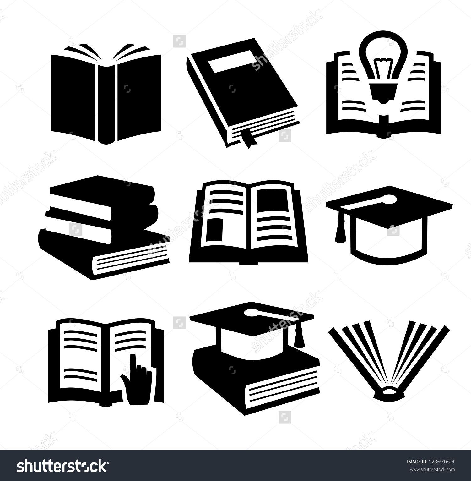 Vector Black Book Icons Set On Gray Book Icons Icon Set Icon Set Vector