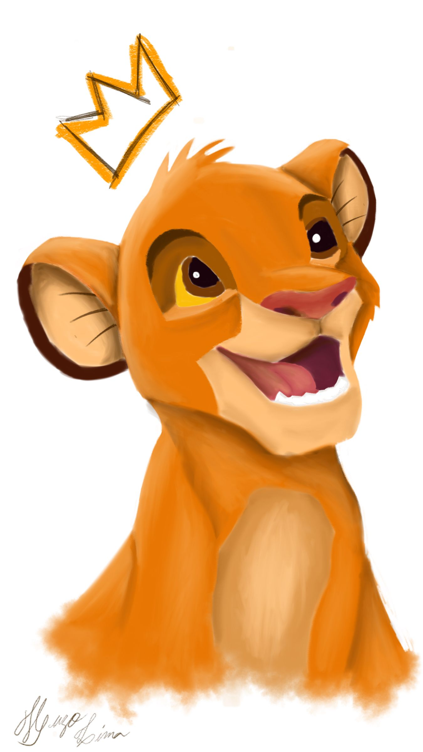 Drawing of Simba, The lion king, smatphone drawing, desenho Simba rei leão no celular