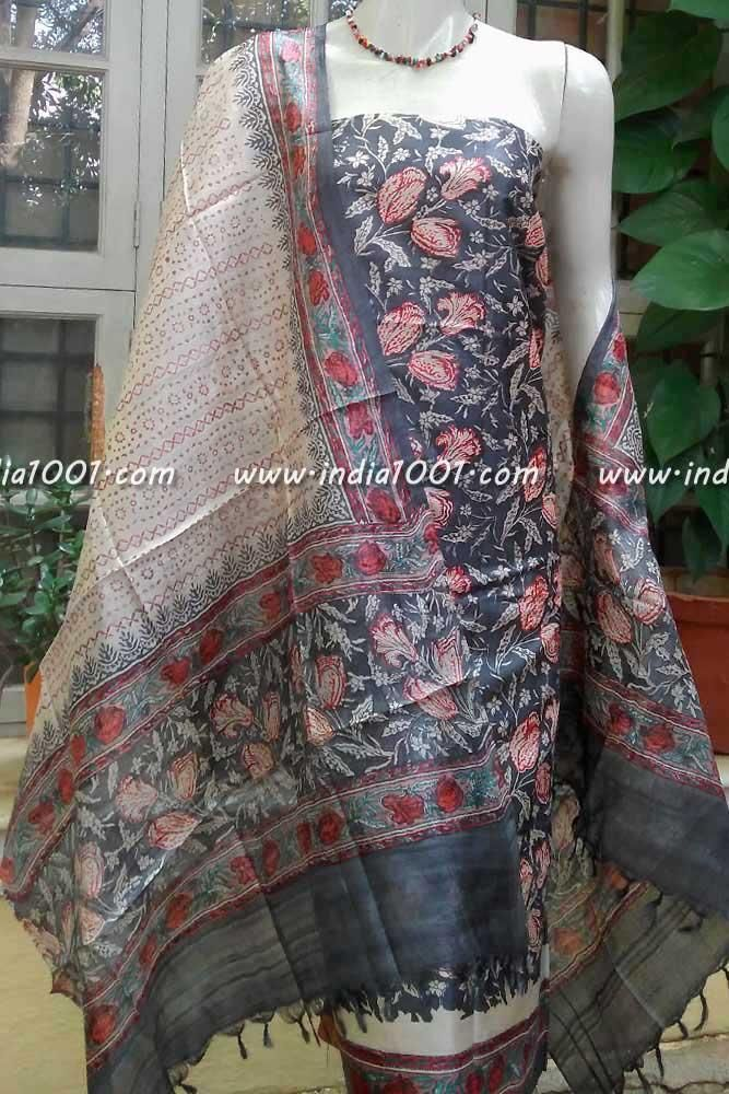 04fe1f41b8 Elegant Tussar Silk unstitched suit fabric with Tussar Silk Salwar ...