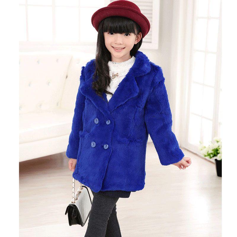 2017Fashion Girls Rex Rabbit Fur Coat Children winter warm ...