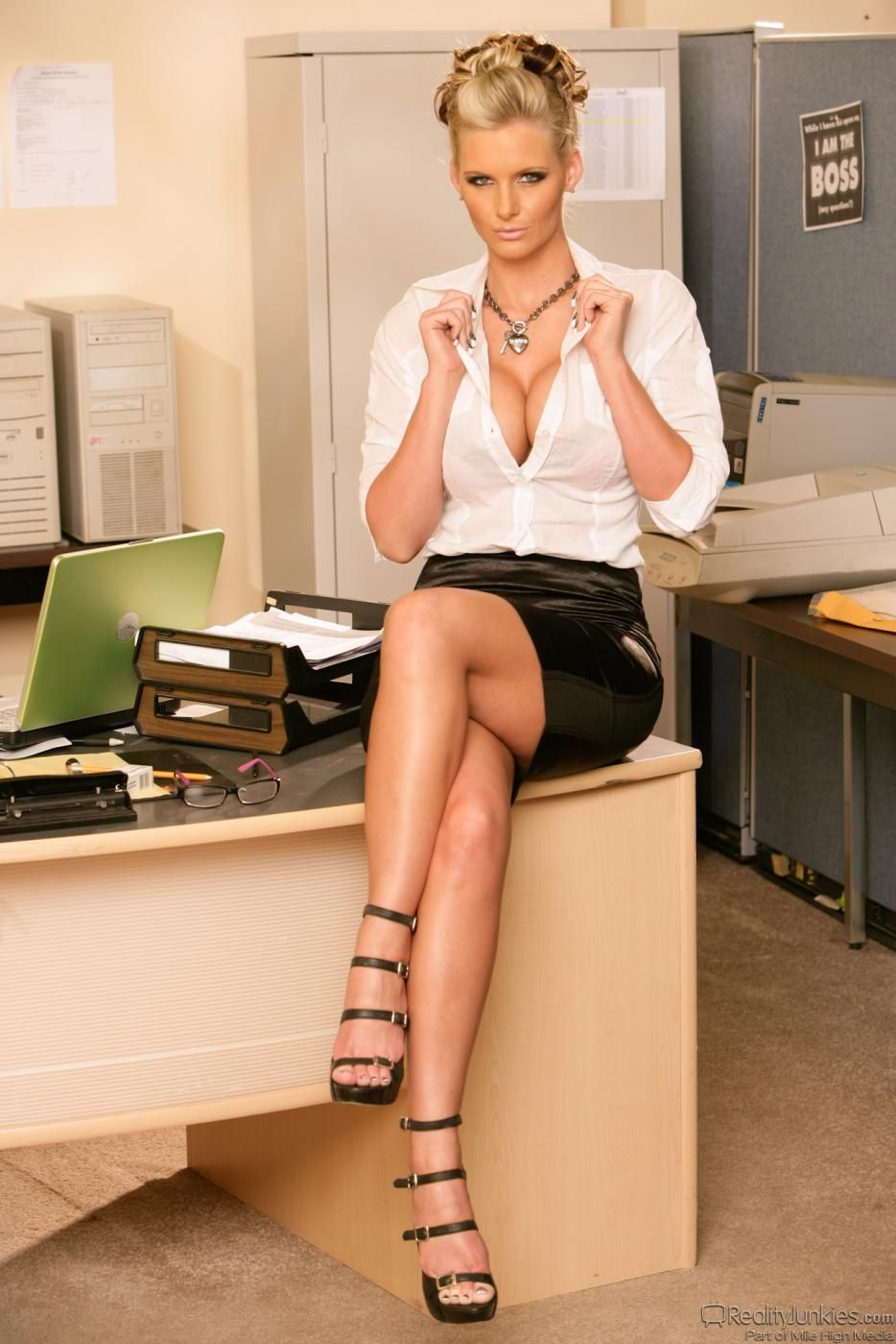 Upskirt black woman desk