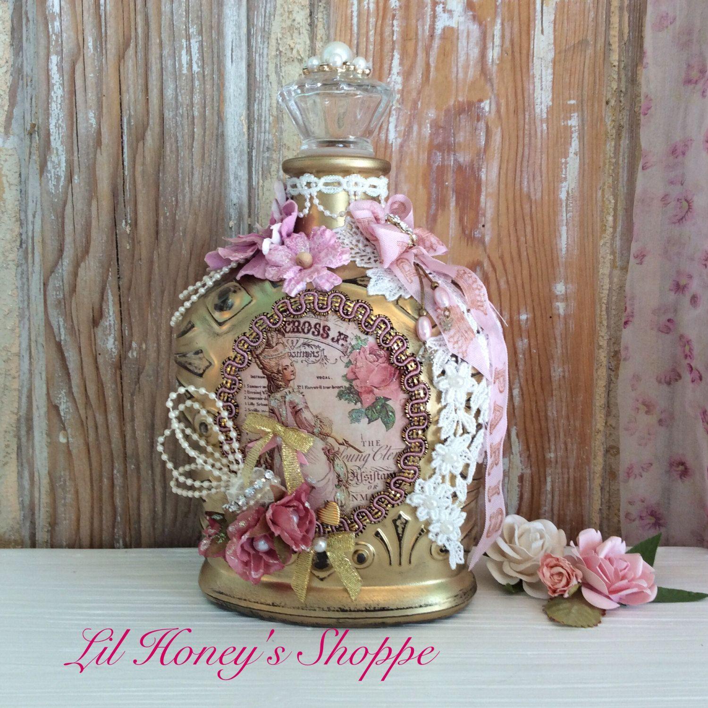 altered bottle shabby chic paris marie antoinette style pink rh pinterest ca shabby chic perfume bottles shabby chic bottle brush trees