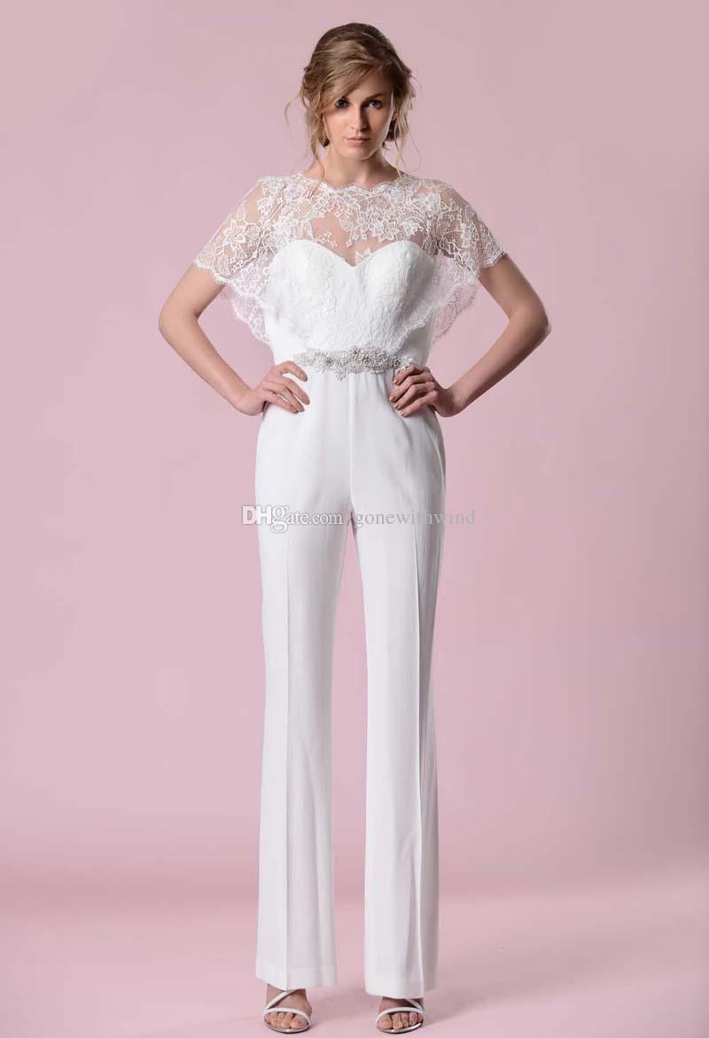 Lace warp cape satin pant jumpsuit wedding dreses backless