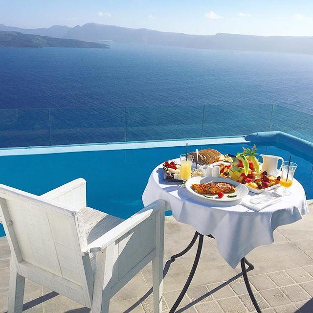 Breakfast with view   #santorini   Santorini, Santorini ...