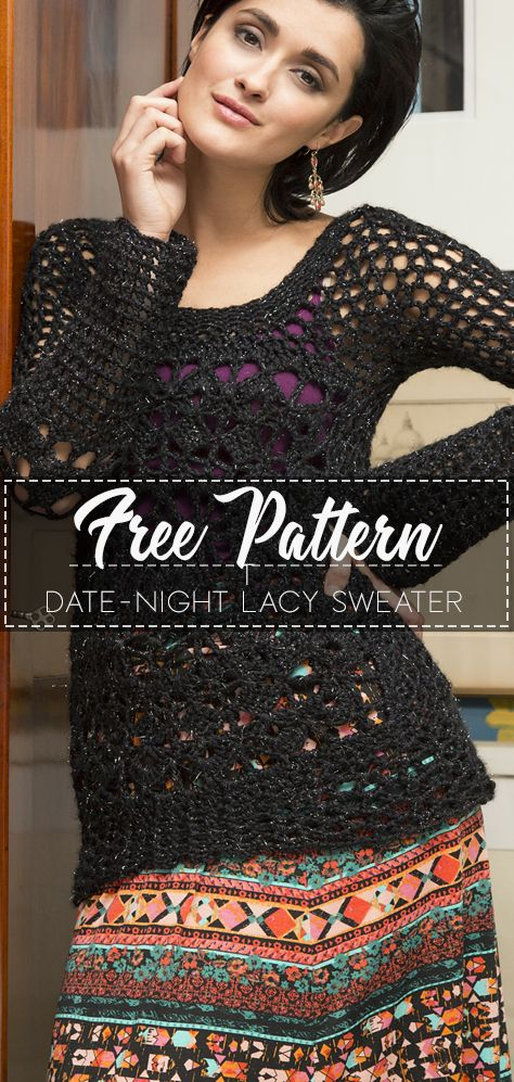 Date-Night Lacy Sweater – Free Pattern – Free Crochet #crochettunicpattern