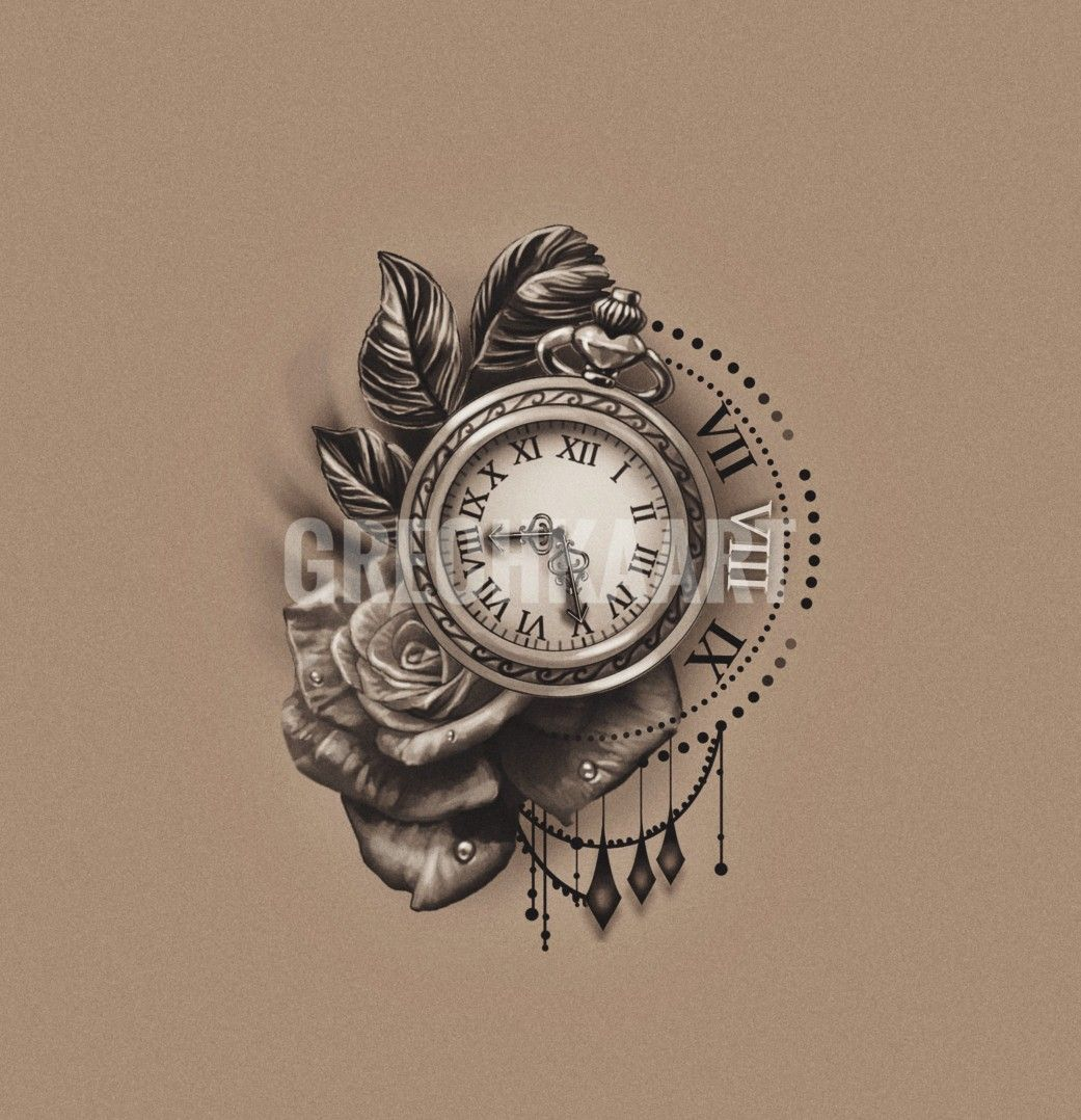Pocket Watch Rose Clock Tattoo Idea You Can Follow The Link And Get Custom Tattoo Design Pocket Watch Tattoo Design Pocket Watch Tattoos Watch Tattoos