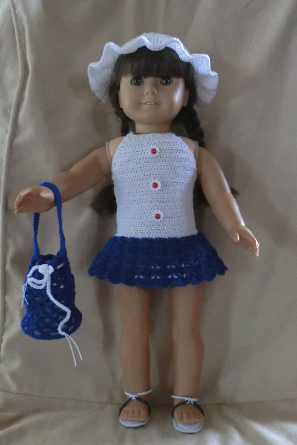 Crochet Pattern 152 Day at the Beach Set for 18 Inch Dolls. $3.00, via Etsy.