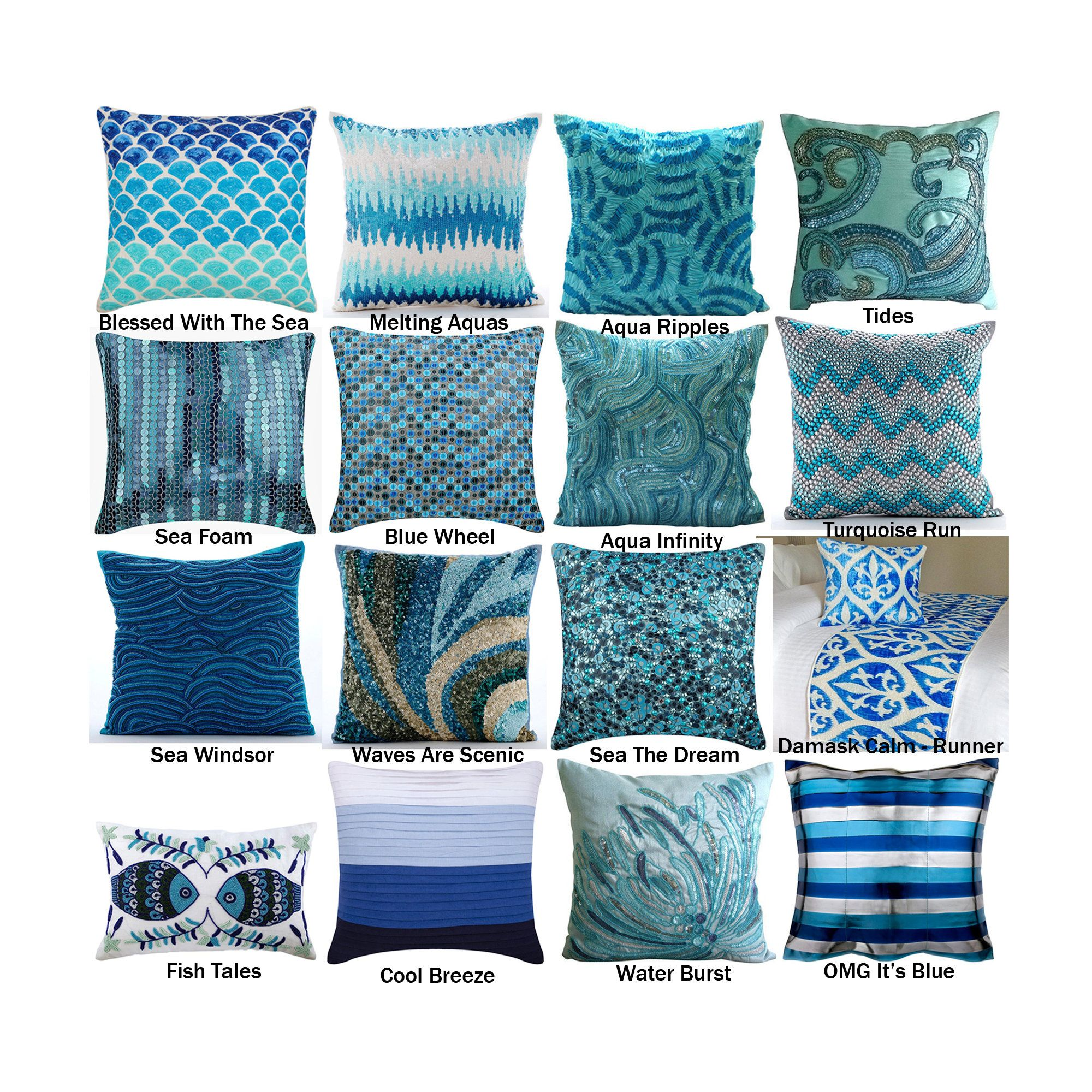 The Ocean Collection Pillow Covers Aqua Decorative Throw Etsy In 2020 Pillows Bed Runner Ocean Themed Pillows