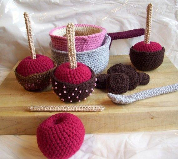Chocolate Apple Kit...PDF Crochet Pattern   Kaufladen, Kinderküche ...