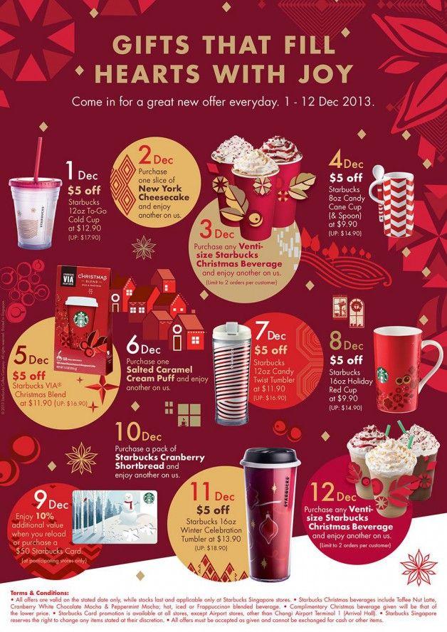 Starbucks Christmas 12 Days Of Gifting Everyday Offers 2013 Starbucks Christmas Christmas Advertising Restaurant Gift Cards