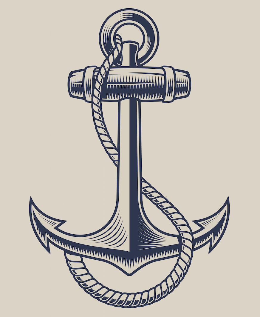 Vector illustration of an anchor with a rope in the