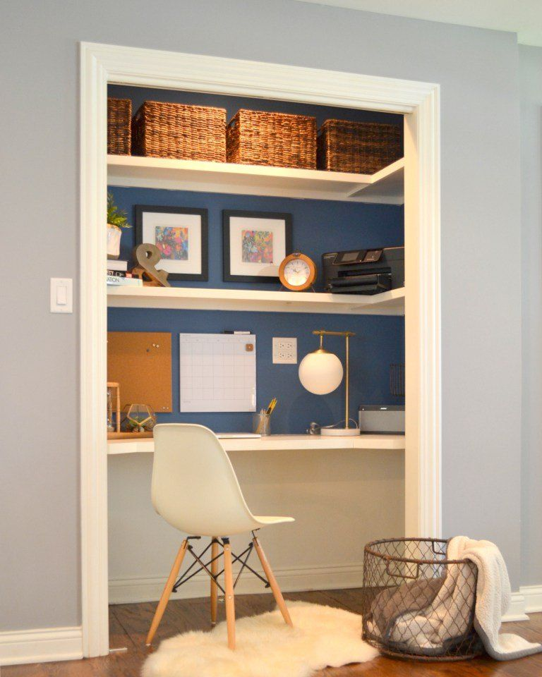 Add A Home Office To A Spare Closet Home Office Closet Closet Desk Home Office Design