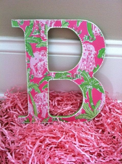 Pink Preppy Letters - Lilly Pulitzer Wall Hanging   Letras, Verde y ...