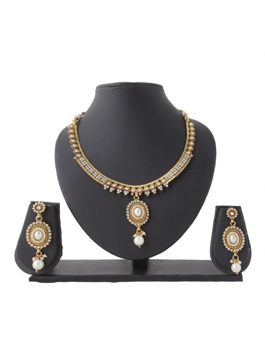 Shop Now :- http://www.high5store.com/necklace-sets/272259-charming-white-brass-necklace-set.html