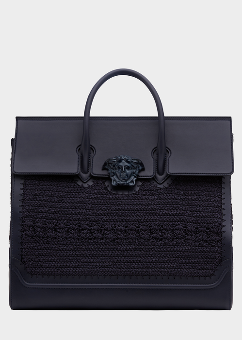e7a696d001 VERSACE Crochet Palazzo Empire Travel Bag.  versace  bags  nylon  leather   lining  metallic  shoulder bags  linen  cashmere  hand bags  wool  cotton