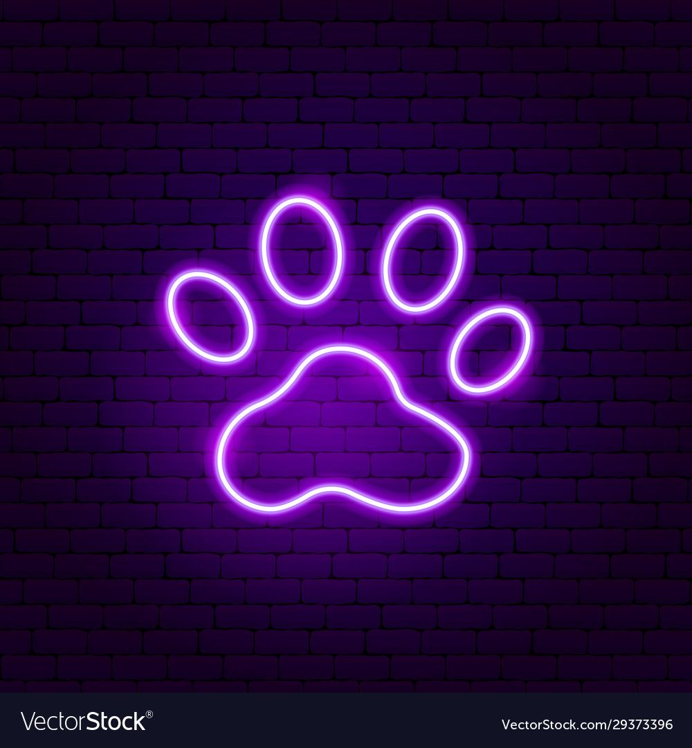 Animal Trail Neon Sign Vector Image On Vectorstock In 2020 Neon Wall Art Neon Signs Cool Neon Signs