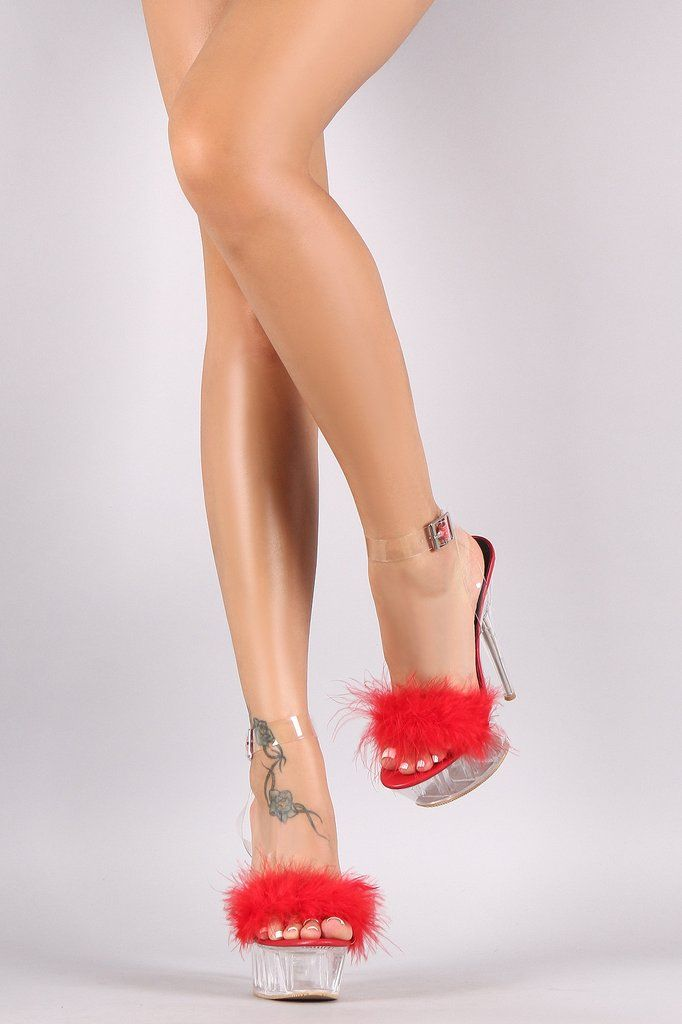 0f5286a80c9 Faux Feather Lucite Ankle Strap Perspex Chunky Platform Heel ...