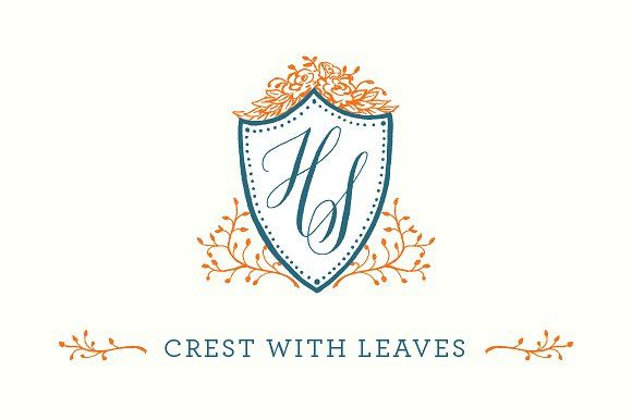 Hand Drawn Crest With Leaves By Biancamascorro On Creativemarket