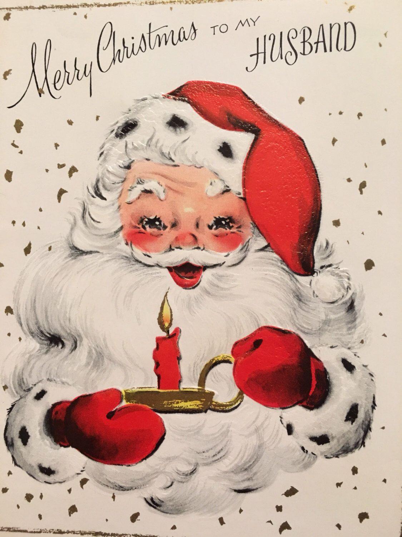 Vintage Christmas Card Husband Santa 1950s Unused Nos Vintage
