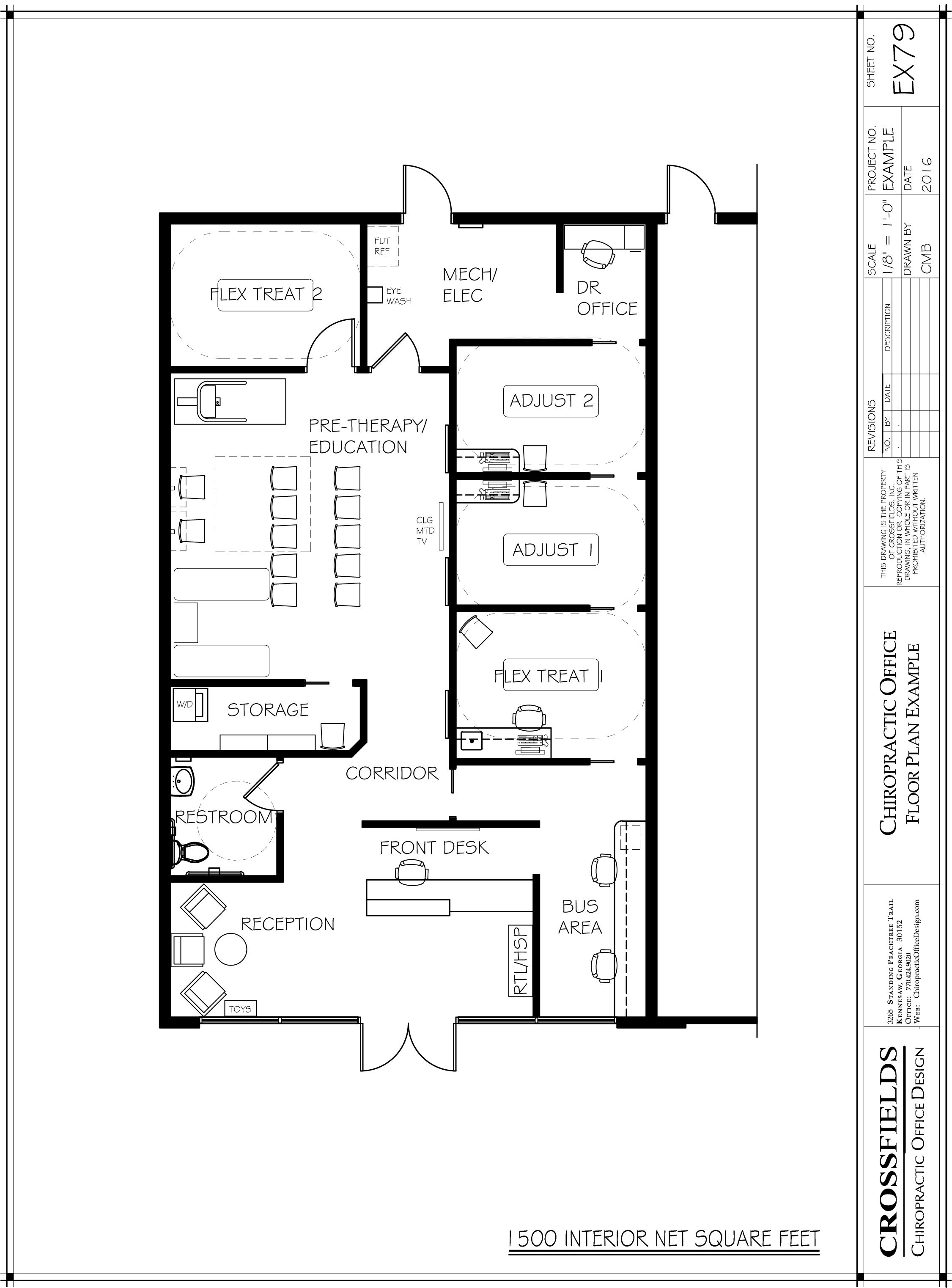 Example floor plan with closed adjusting open therapy