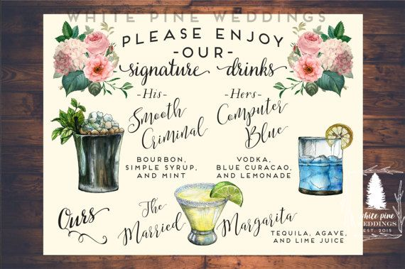 Wedding signature drinks sign drink sign wedding bar menu wedding wedding signature drinks sign drink sign wedding bar menu junglespirit Gallery