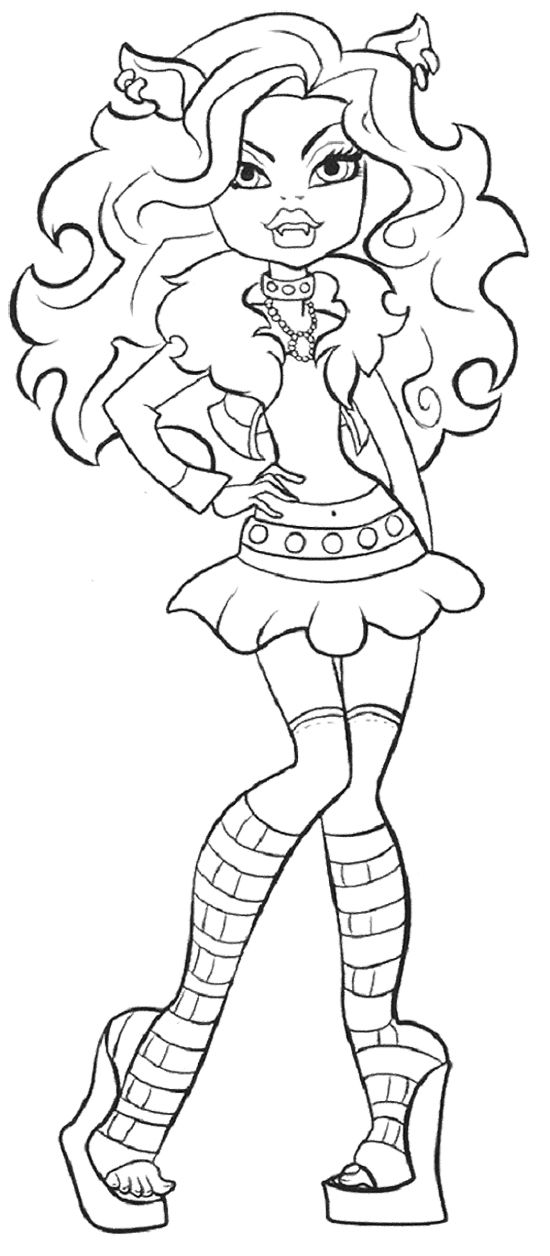 Cute Clawdeen Wolf Coloring Page Cartoon Coloring Pages Cool Coloring Pages Halloween Coloring Pages