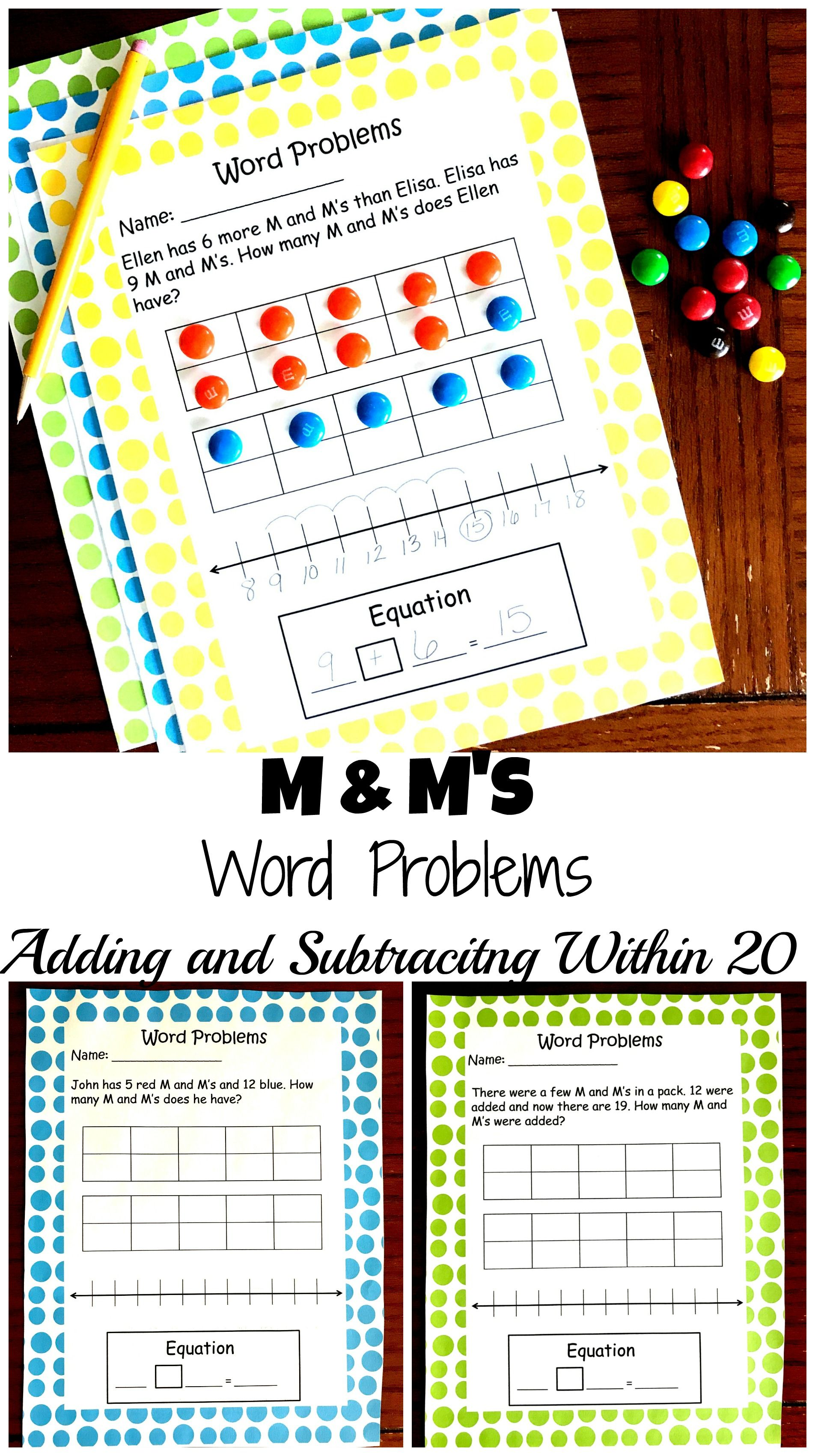 5 Free M M Word Problems To Practice Adding And Subtracting Within 20 Word Problems Adding And Subtracting Math Word Problems Addition and subtraction equations word