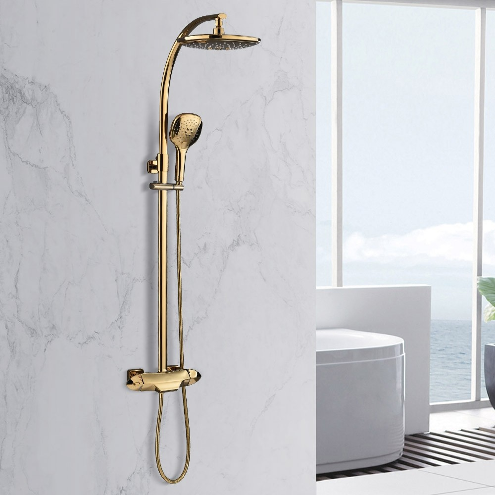 Zime Modern Gold Exposed Adjustable Shower Faucet Thermostatic Valve With 2 Function Hand Shower Waterfall Tub Spout Shower System Solid Brass Shower Systems Shower Taps Hand Shower