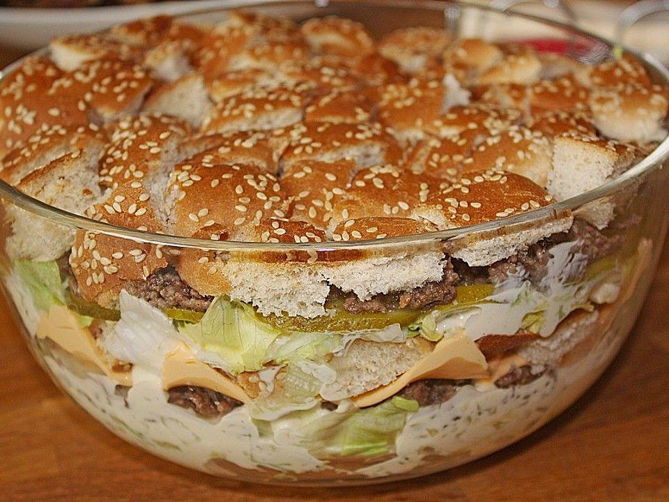 Big Mac Salat - Big Mac als Schichtsalat - eigene Kreation, ein extrem leckerer Partysalat. Über 1067 Bewertungen und für sehr lecker befunden. Mit ► Portionsrechner ► Kochbuch ► Video-Tipps!
