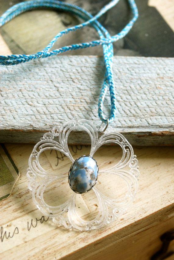Willow. vintage lucite.bohemian ,string necklace. Tiedupmemories