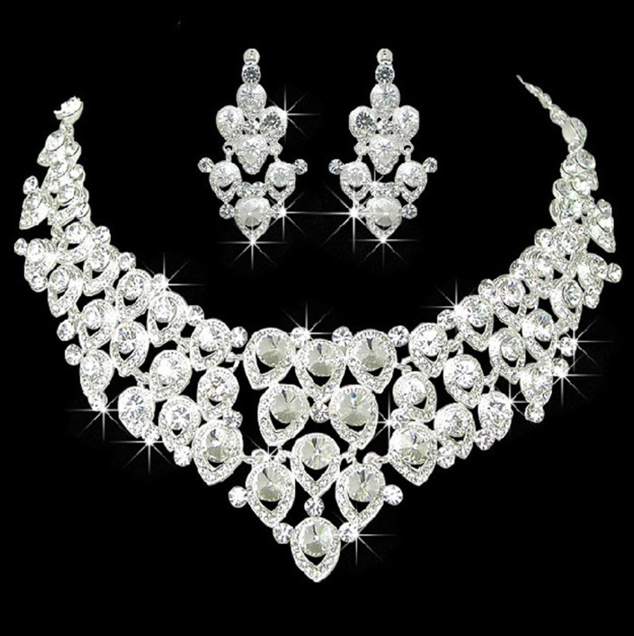 Heart designs crystal rhinestone necklace set azblrhscl