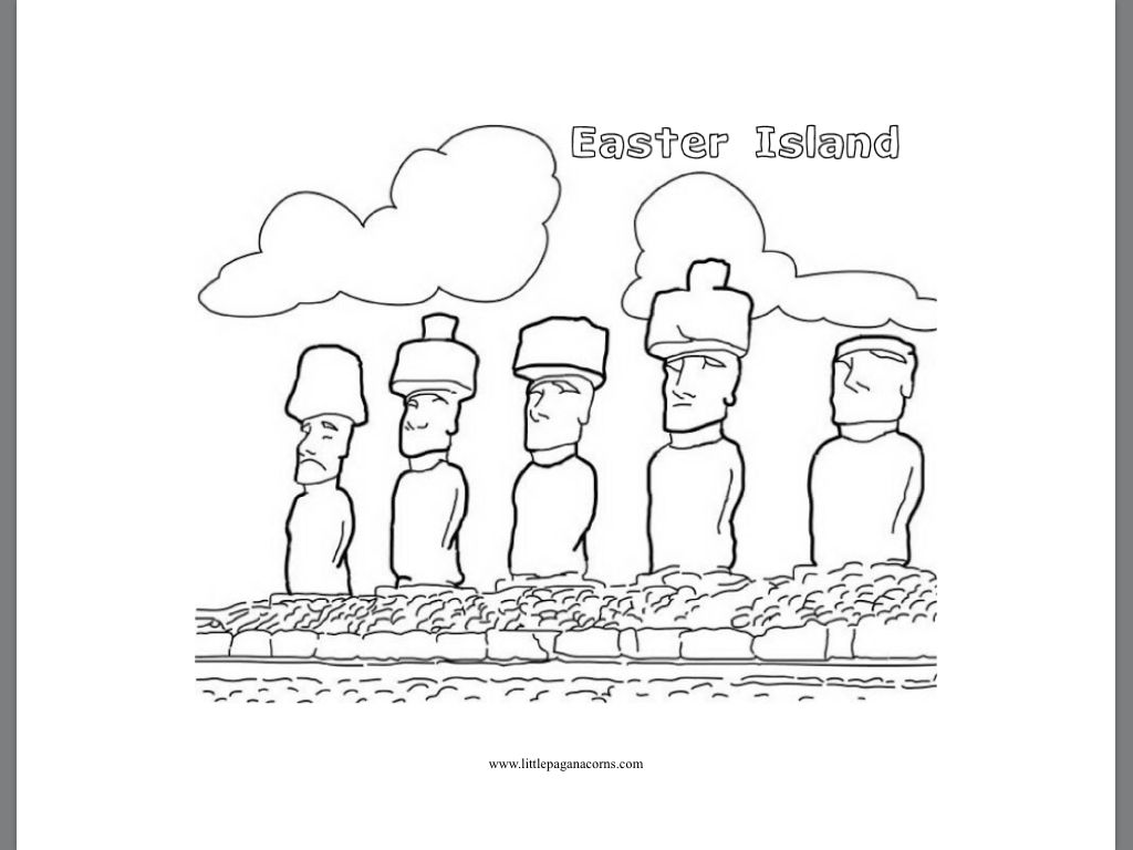 Easter island  Coloring pages, Coloring for kids, Art class
