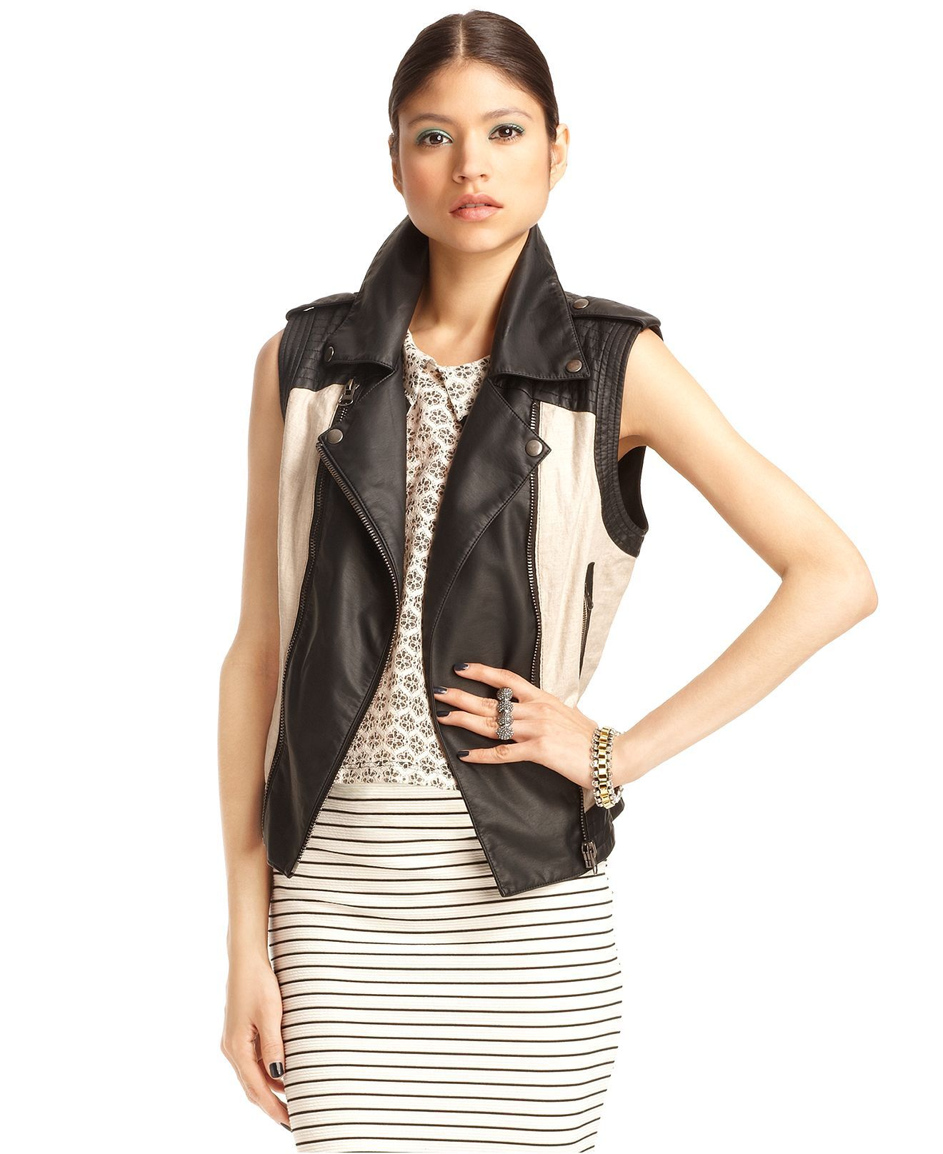 64 Bar Iii Vest Sleeveless Faux Leather Motorcycle Jackets Blazers Women