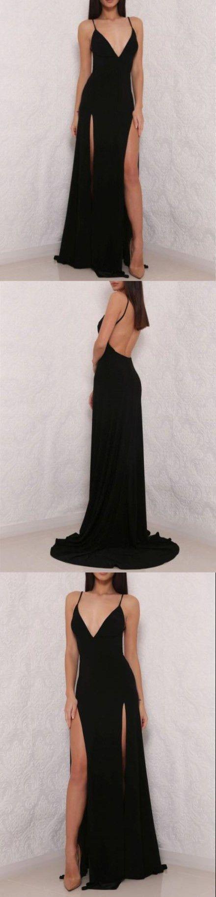 Sexy black spaghetti strap prom dressv neck prom dressopen back