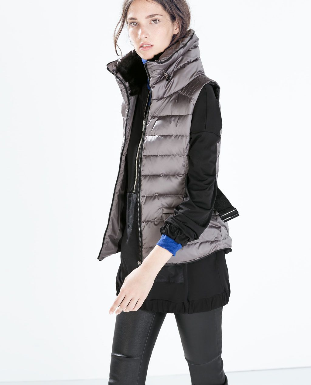 4501a8034c11f ZARA - WOMAN - DOWN VEST WITH BELT